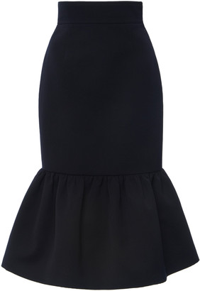 Miu Miu Women's Ruffled Wool Cady Midi Skirt - Navy - Moda Operandi