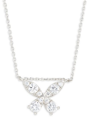 GABIRIELLE JEWELRY Sterling Silver & Crystal Butterfly Pendant Necklace