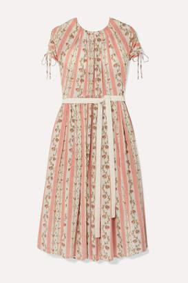 Brock Collection Belted Floral-print Silk-georgette Dress - Pastel pink
