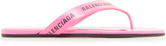 Balenciaga Logo Leather Thong Sandals