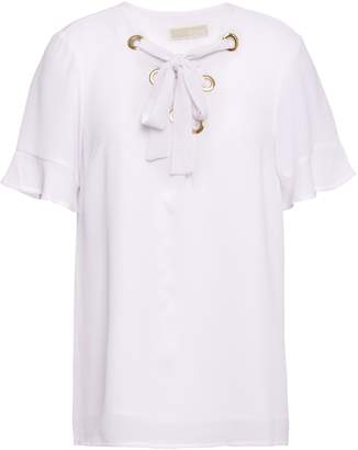 MICHAEL Michael Kors Lace-up Ruffle-trimmed Embossed Crepe Blouse