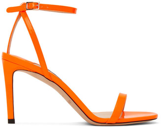 Jimmy Choo Orange Patent Minny 85 Sandals