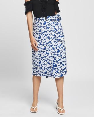 Glamorous Women's Blue Midi Skirts - Floral Midi Wrap Skirt - Size 8 at The Iconic