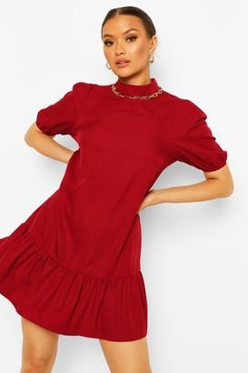 boohoo Cotton High Neck Puff Sleeve Shift Dress