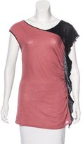 Alberta Ferretti Silk-Blend Colorblock Top