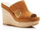 Stuart Weitzman Ponte Suede Platform Wedge Slide Sandals