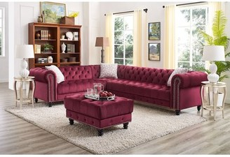 """Rosdorf Park Margate 138.5"""" Left Hand Facing Sectional with Ottoman Fabric: Wine Red"""