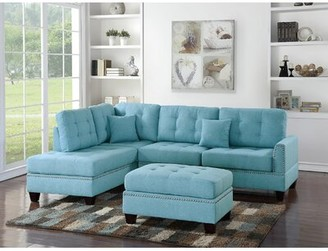 Latitude Run Whitner Left Hand Facing Sectional with Ottoman Upholstery Color: Blue