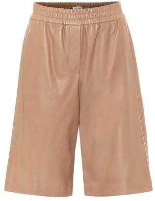 Brunello Cucinelli High-rise leather bermuda shorts