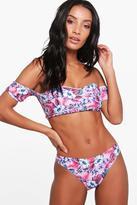 boohoo Lola Digital Floral Bardot Bikini pink