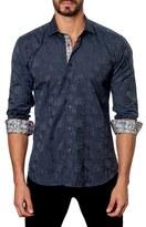 Jared Lang Men's Trim Fit Floral Jacquard Sport Shirt