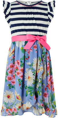 Monsoon Dulcie 2-in-1 Stripe and Floral Dress Blue