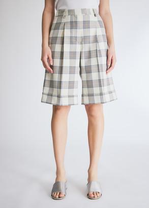 Baum und Pferdgarten Women's Nacimo Short in Cream/Navy/Brown Check, Size 34