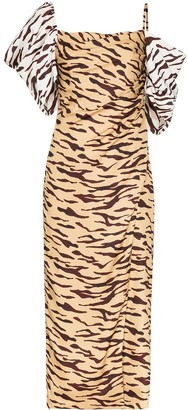 REJINA PYO Amelia off-shoulder tiger print dress