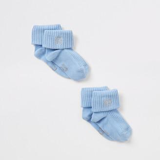 River Island Blue RI embroidered socks 2 pack