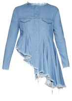 Marques Almeida MARQUES'ALMEIDA Collarless asymmetric-hem denim jacket