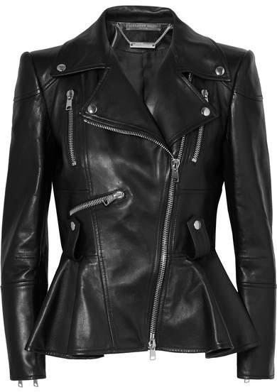 Alexander McQueen Leather Peplum Biker Jacket - Black