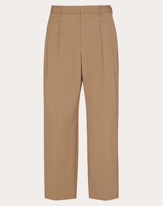 Valentino Twin Pleat Pants Man Beige Elastane 4% 44