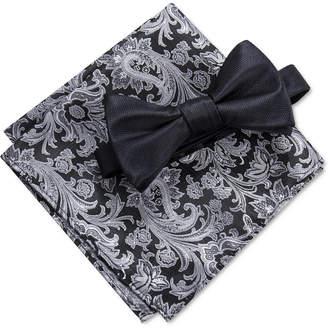 Ryan Seacrest Distinction Men Edith Solid Pre-Tied Bow Tie & Paisley Pocket Square Set