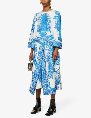 Valentino Floral-print scoop-neck silk-twill wrap midi dress