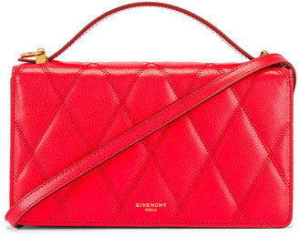 Givenchy GV3 Quilted Leather Strap Wallet Bag in Red | FWRD