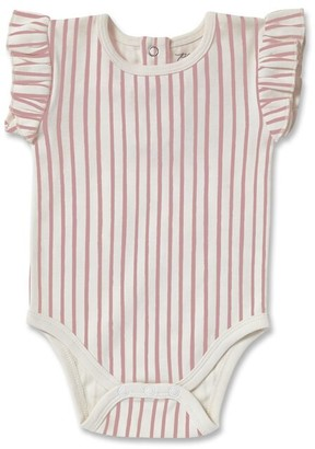 Pehr Stripes Away Short Sleeve Ruffle One - Piece - Pink - 6 - 12 Months