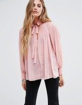 Glamorous Pleated Long Sleeved Blouse With Tie Neck