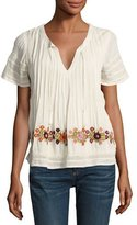 Tularosa Carley Embroidered Short-Sleeve Peasant Top, Cream