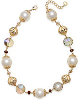 Charter Club Gold-Tone Imitation Pearl and Bead Collar Necklace, Created for Macy's
