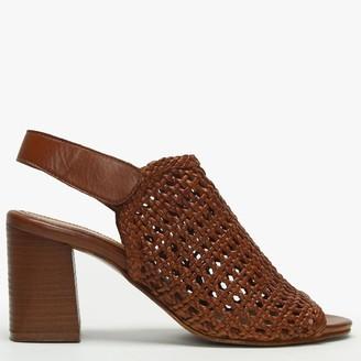 Daniel Zoina Tan Leather Woven Block Heel Sandals