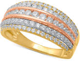Macy's Diamond Tri-Color Multi-Row Statement Ring (1 ct. t.w.) in 14k Gold, Rose Gold & White Rhodium-Plate