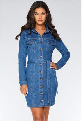 Quiz Light Blue Denim Long Sleeve Dress