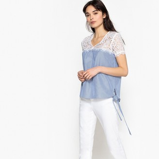 Vero Moda Laced Striped Cotton Blouse with Bows