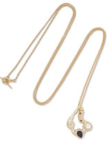 Maje Hammered Gold-Tone Crystal Necklace