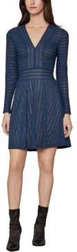 BCBGMAXAZRIA Tonal-Striped Fit & Flare Dress