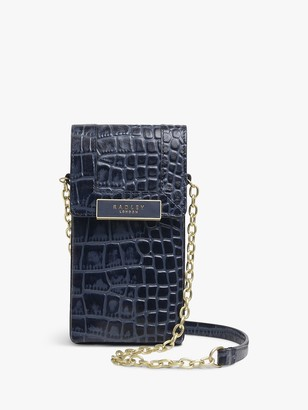 Radley Lockwood Island Leather Phone Cross Body Bag, Ink Blue