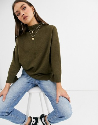 French Connection Ebba Vhari mock neck jumper in wool blend-Brown