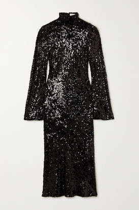 Galvan Legato Open-back Sequined Chiffon Midi Dress - Black