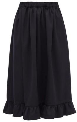 COMME DES GARÇONS GIRL Ruffled-hem Wool-crepe Skirt - Navy