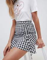 Asos Design Gingham Seersucker Mini Skirt With Ruching