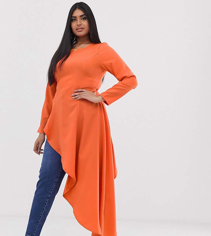 Verona Curve aysmetric long sleeved top in orange