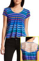 Multi Stripe Crochet-Back Tee