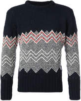 Thom Browne Classic Crewneck Pullover With Chevron Fair Isle In Navy Mohair Tweed