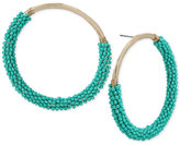 Betsey Johnson Gold-Tone Blue Bead Wrapped Drop Hoop Earrings