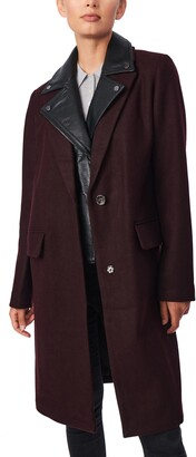 Bernardo Wool Blend Coat with Removable Faux Leather Moto Insert
