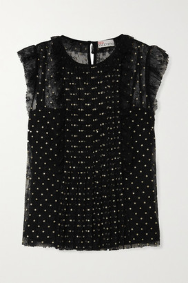 RED Valentino Ruffled Glittered Polka-dot Lace Top - Black