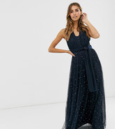 Maya multiway strap maxi dress with embellished skirt in navy