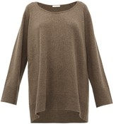 The Row Damian Scoop-neck Wool-blend Sweater - Womens - Light Brown