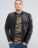 Replay Leather Biker Jacket In Worn Black