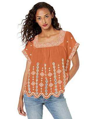 For Love and Liberty Women's Embroidered Square Neck Peasant Top